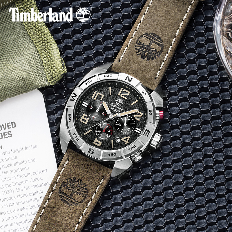 Timberland мужские часы многофункциональный календарь Кожа Повседневное кварцевый хронограф 100 м Водонепроницаемый часы T13670