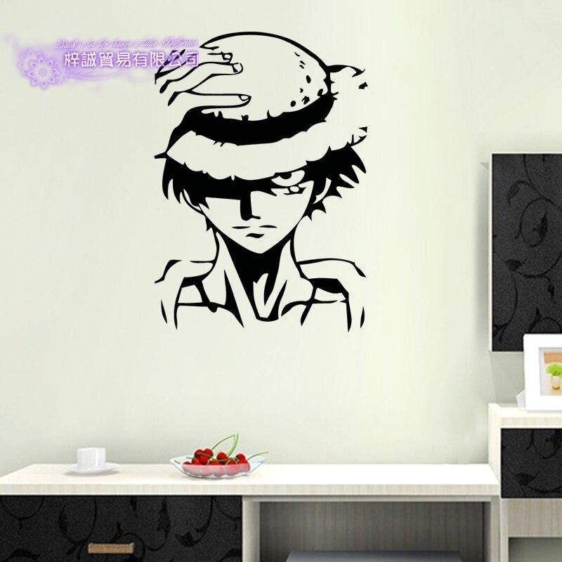 Um pedaço luffy decalque dos desenhos animados japoneses adesivo de parede decalque do vinil decoração para casa decoração decorativa