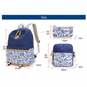 Image 4 - Fengdong sacos de escola para meninas adolescentes do vintage flor lona mochila criança escola crianças ombro caneta lápis saco bookbag