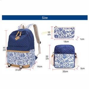 Image 4 - Fengdong الحقائب المدرسية للمراهقات خمر زهرة حقيبة من القماش حقيبة المدرسة الطفل الاطفال الكتف القلم حقيبة أقلام رصاص bookbag