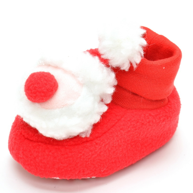 Baby shoes footwear Girls boys Kids warm Christmas cute Anti-Slip Crib Santa Claus Soft Sole Prewalkers Footwear for 1-2years