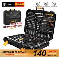 DEKO 140 Pcs Professional Car Repair Tool Set Auto Ratchet Spanner Screwdriver Socket Mechanics Tools Set W/ Blow Molding Box
