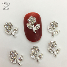 LEAMX 10 PCS/bag Rhinestone Flowers Nails Art Decorations Shining Valentine Rose 3D Silver Metal Nail Jewelry Studs DIY GiftL437