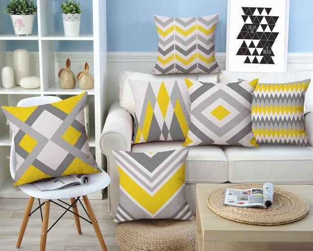 Drop Ship Geometric Cushion Cover Yellow Grey Home Decor Linen Cotton Pillow  Cove Decorative Throw Pillows
