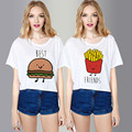 Sweet Crop Tops Women O Neck Best Friends Forever Printed T Shirts 2015 Summer Fashion Short Sleeve Sisterhood Shirt S-XL QL1572
