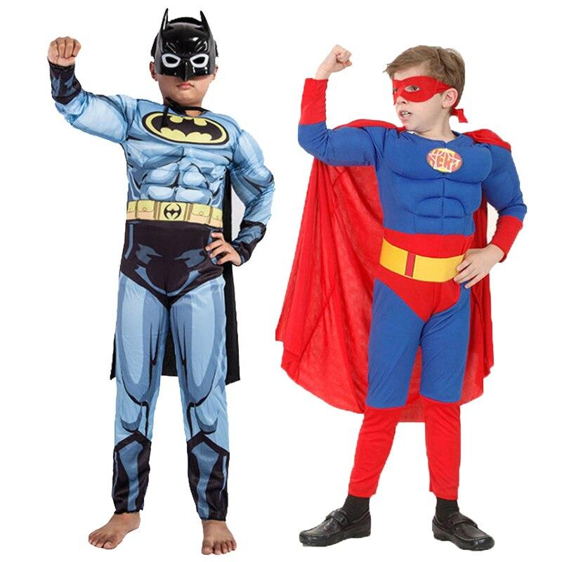 Novo superman batman filme clássico músculo criança traje halloween para crianças liga da justiça infantil super-herói fantasia vestido