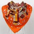 Оранжевый Бренда Twill Шарфы Зима 100% Натурального Шелка Саржевого Косынка Отпечатано Для Женщин, 90*90 см Руки передвижной Хмыкнул Шелковый Шарф
