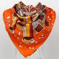 Naranja Marca Sarga Bufandas de Invierno 100% Natural Seda Pañuelo Cuadrado de Twill Impreso Para Las Mujeres, 90*90 cm Mano rollo de Dobladillo de Seda de La Bufanda