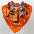 Orange Brand Twill Scarves Winter 100% Natural Silk Twill Square Scarf Printed For Women,90*90cm Hand Roll-Hemmed Silk Scarf
