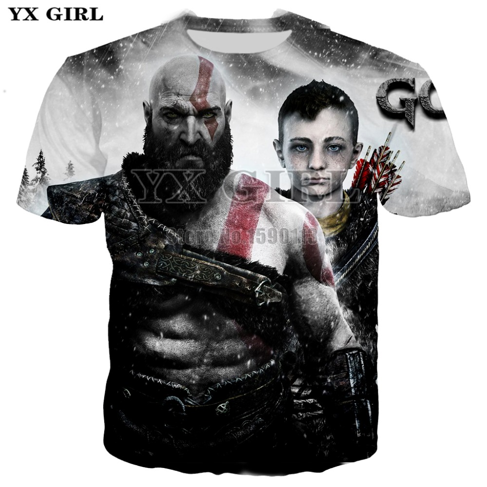 YX GIRL summer Newest Men/Women 3d t-shirt Classic game God of War prints t shirts harajuku style casual O-Neck Tee shirts