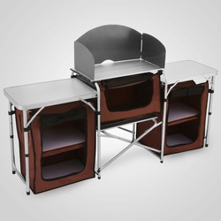 Camping Kitchen Picnic Cabinet Table Portable Folding Cooking Storage Rack Alu with free shipping