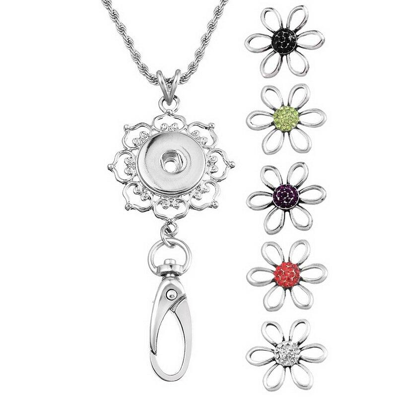 MJARTORIA 1Set Flower Hollow Flowers Snap Buttons Necklaces & Pendants Fashion Women Men DIY DIY Cute Gift Long Necklace