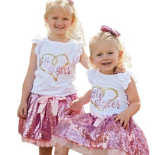 Toddler Girl Big Sister Clothes Sets Tops Tutu Dress Skirt Outfits Set 3 years baby summer clothes baby girl outfits 2t(China)