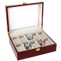 Solid Organizer Counters Box Jewelry Storage Non Slip Gifts Home Case Display Stand Vintage Wooden Glass Watch Box With Lock