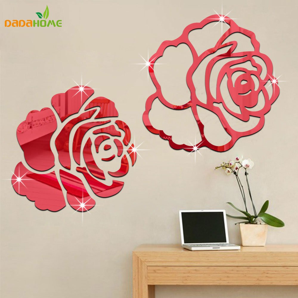 Rose 3d mirror wall stickers for wall decoration diy home for Stickers pared baratos