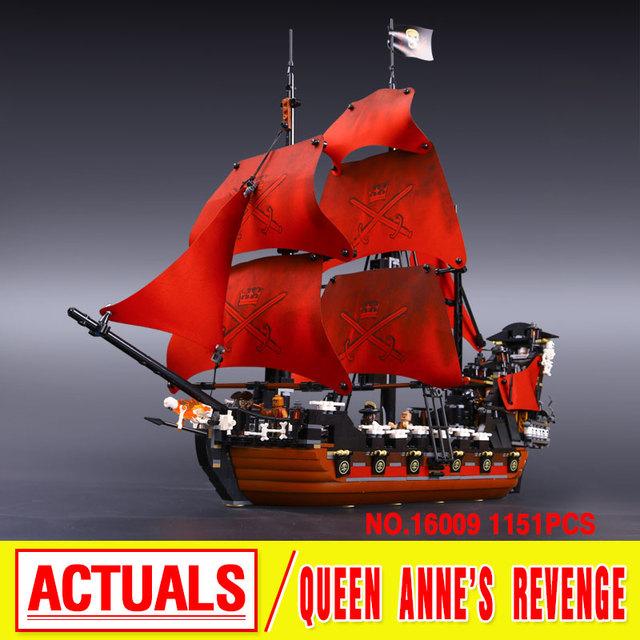 LEPIN 16009 Serie de Películas de Piratas del Caribe la venganza de la Reina Anne Building Block Set Compatible con 4195