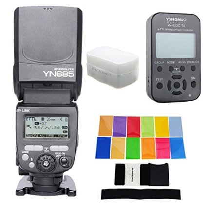 Galleria fotografica Yongnuo yn685c yn685 yn-685 sans fil hss ttl flash speedlite pour <font><b>canon</b></font> + yn622c-tx trigger + 12 couleur filtre + diffuseur