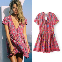 Ky Q Spring Summer Sexy Deep V Neck Red Floral Print Dresses Women 2018 New Hot