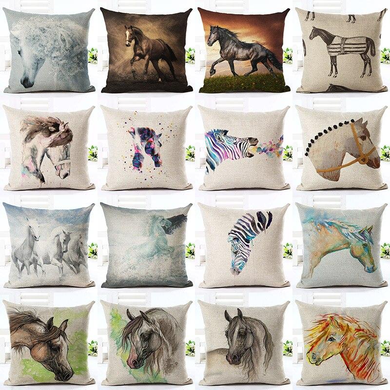 Beautiful Horse Zebra Printed Cotton Linen Pillowcase Decorative Cushion Cover Use For Home Sofa Car Office Almofadas Cojines