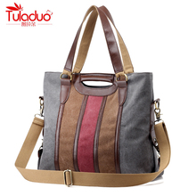 High Quality Patchwork Canvas Women Handbags 2017 Fashion Panelled Women Shoulder Bags Large Capacity Casual Tote Bag For Ladies