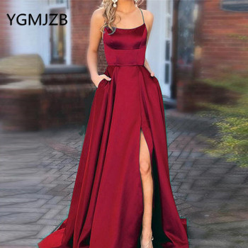 Wine Red Satin Long Evening Dresses A-Line Boat Neck Spaghetti Strap High Side Slit Prom Gown 2019 Women Formal Prom Party Dress