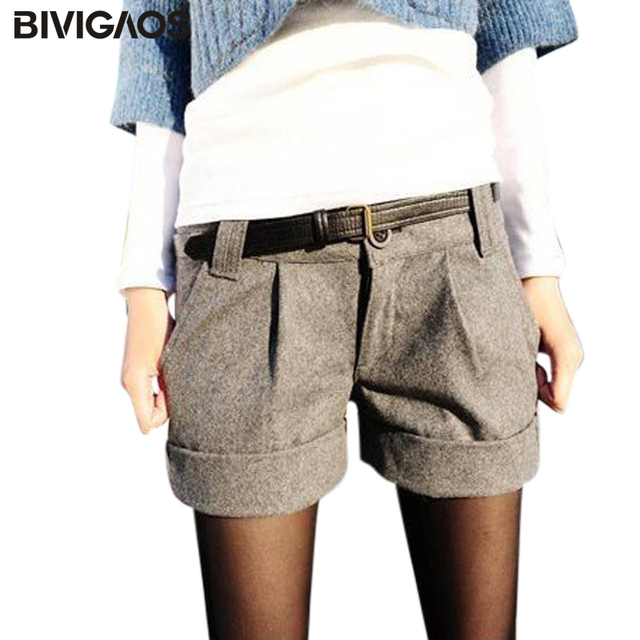 a1942954f3 Free Shipping 2016 New Fashion Euramerican Casual Concise Mid Waisted Loose  Hot Woolen Bootcut Cotton Shorts For Ladies Women