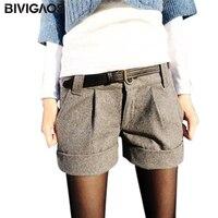 Trasporto libero 2016 new fashion euramerican casual concise mid a vita allentato caldo di lana bootcut cotone shorts per le signore donne