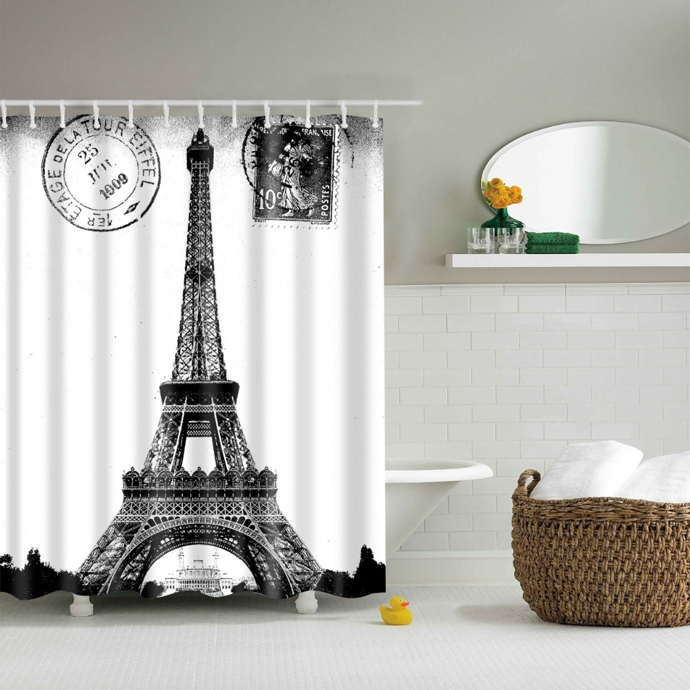 Eiffel tower bathroom decor - Fashion Eiffel Tower Shower Curtains Waterproof Bathroom Curtains Polyester 180x180cm Decoration With Hooks China