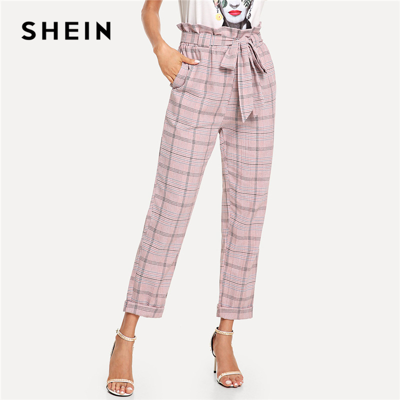 SHEIN Pink Plaid Frilled Tie Waist Pants Elegsnt Workwear Knot Belted Mid Waist Trousers ...