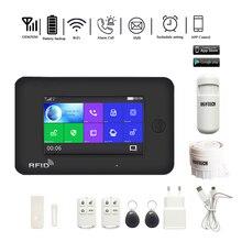 DAYTECH WiFi GSM alarmowy System bezpieczeństwa kolorowy telewizor LCD ekran dotykowy Wirless domu DIY GSM System wykrywacz ruchu czujnik ognia (TA03)