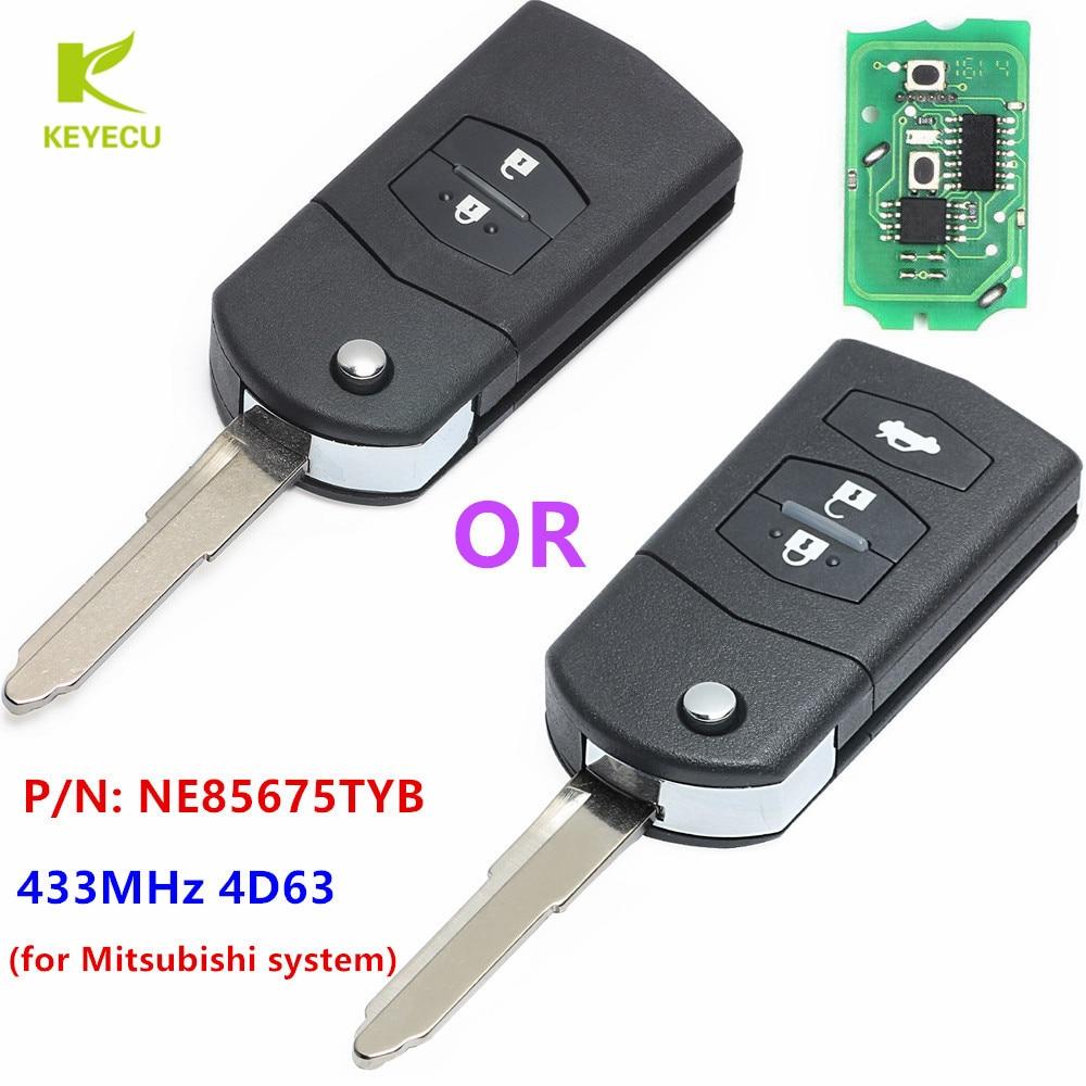KEYECU сменный дистанционный ключ-брелок от машины 433 МГц 4D63 для Mazda 3 Seden 2009-2011 P/N: NE85675TYB (только для Mitsubishi версии)
