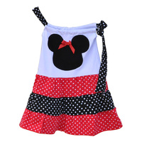 2016 Hot Sale Girls Spring Summer Dress Patchwork Swing Polka Dots Top With Bow Clothing Boutique