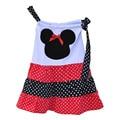 2016 Primavera Venda Quente Meninas Vestido de Verão Patchwork Balanço Polka Dots Top Com Arco Boutique de Roupas Crianças Lindo Vestido DX006