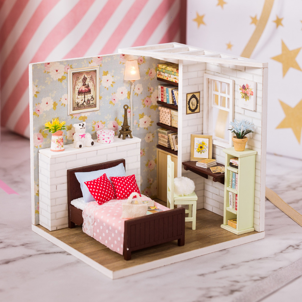 Furniture Room Items Dollhouse Diy Girls Princess Bedroom Set With 1 24 Scale Labaguettepattaya Com