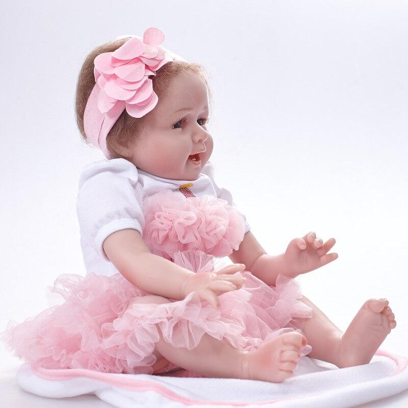 55 cm Reborn Dolls Full Silicone Vinyl 22'' Girl Realistic Reborn Babies Toys For Christmas Gifts Lifelike Princess Newborn Doll цена 2017