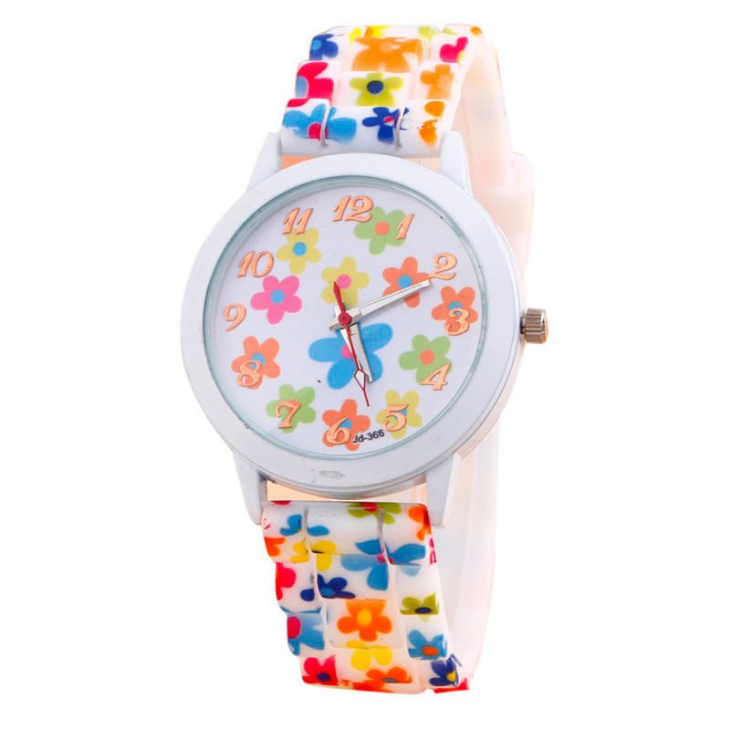 2018 Hot Watch Women Girls Fashional Silicone Flower Printed Jelly Sports Analog Quartz Wrist Watches Bracelet montre femme A70 eurosvet настольная лампа eurosvet 01010 1 античная бронза