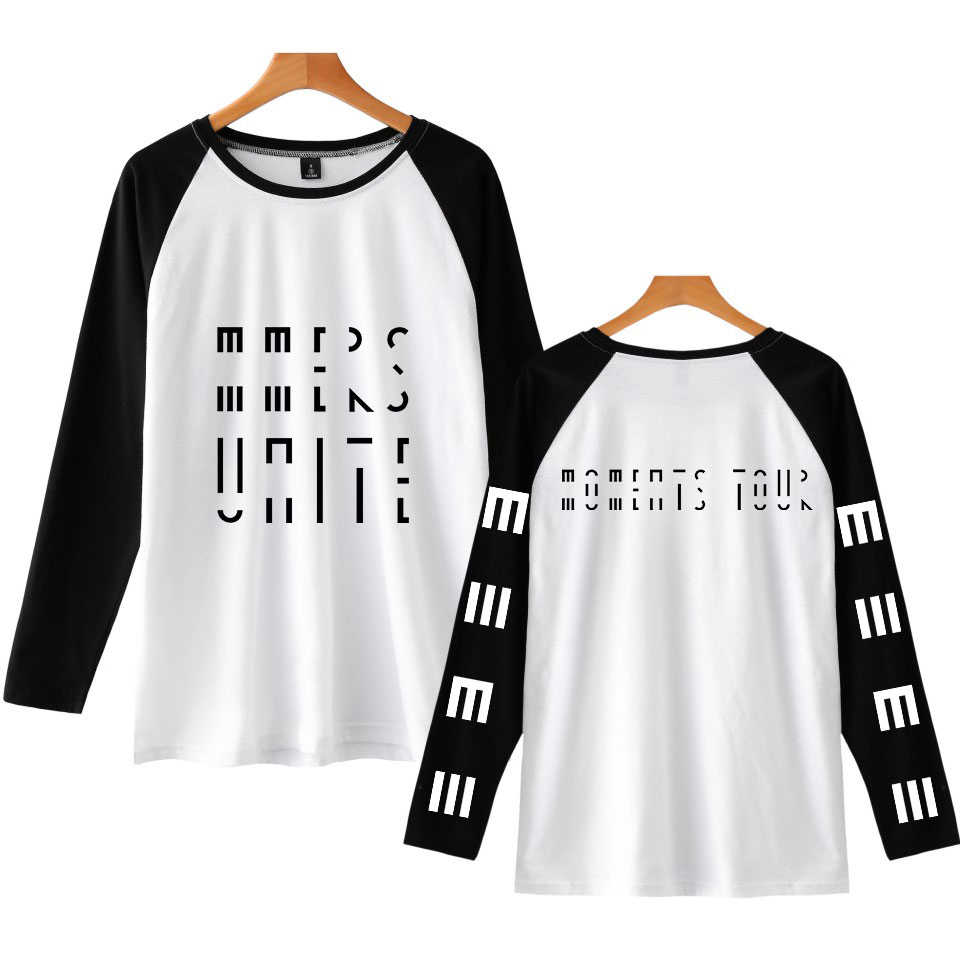 New Fashion Marcus & Martinus Raglan Long Sleeve T-shirt Moment Tour Geometric Pattern Unisex College Style Hip Hop Streetwear