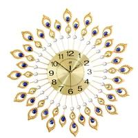 3D Aluminum Large Decorative Wall Clock Modern Design With Diamond Quartz Reloj Peacock Feather Shaped Wandklok