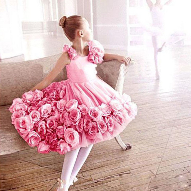 Sweety Pink Graduation Gown Girls With Handmade Flowers Tea Length ...