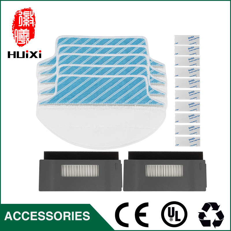 High Quality 5pcs Cleaning Mop Cloths + 2 sets Hepa Filter for DT85 DT83 DM81 Robotic Vacuum Cleaner to Cleaning Dust 5set vacuum cleaner parts replacement 5 hepa filter 5 cotton for ecovacs dibea dt85 dt83 dm81 vacuum cleaner parts
