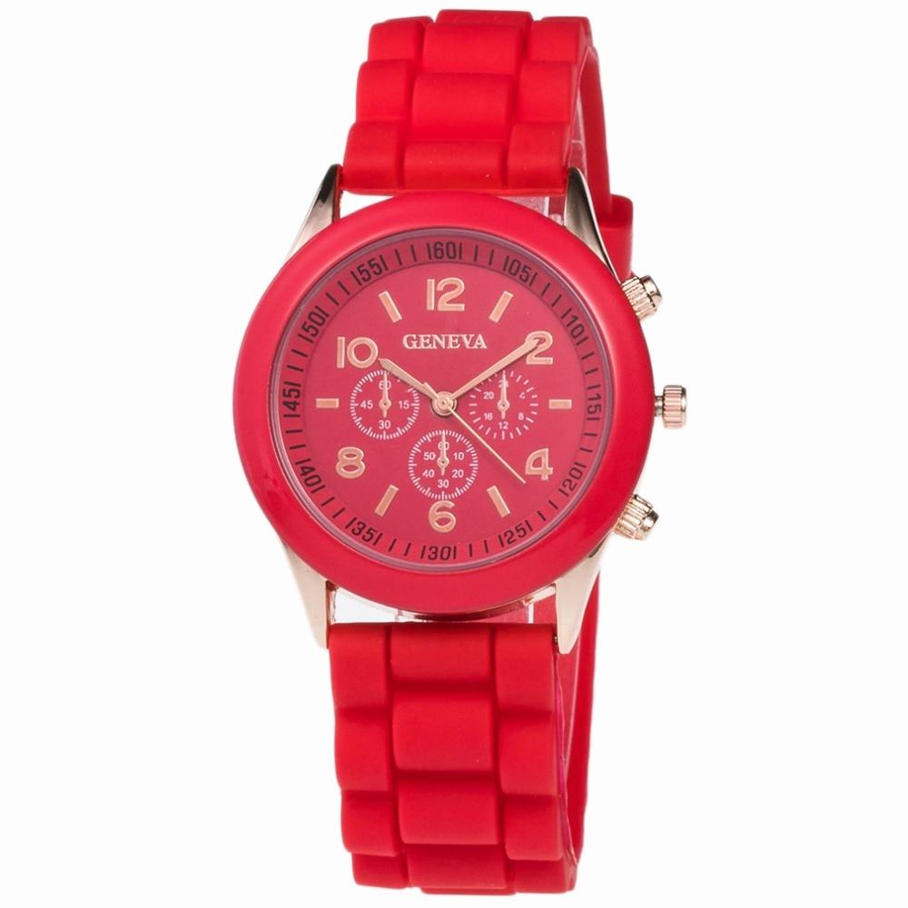 High Quality Geneva Silicone Women's watches Ladies Dress Quartz Wristwatches Re