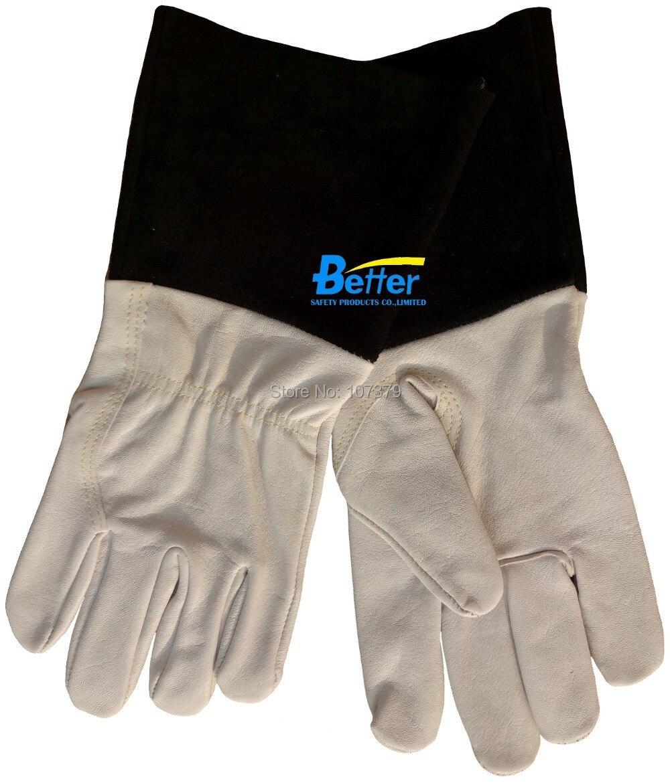 Leather work gloves for welding - Work Glove Leather Welding Safety Glove Tig Welding Glove Tig Mig Grain Goat Skin Leather Welding