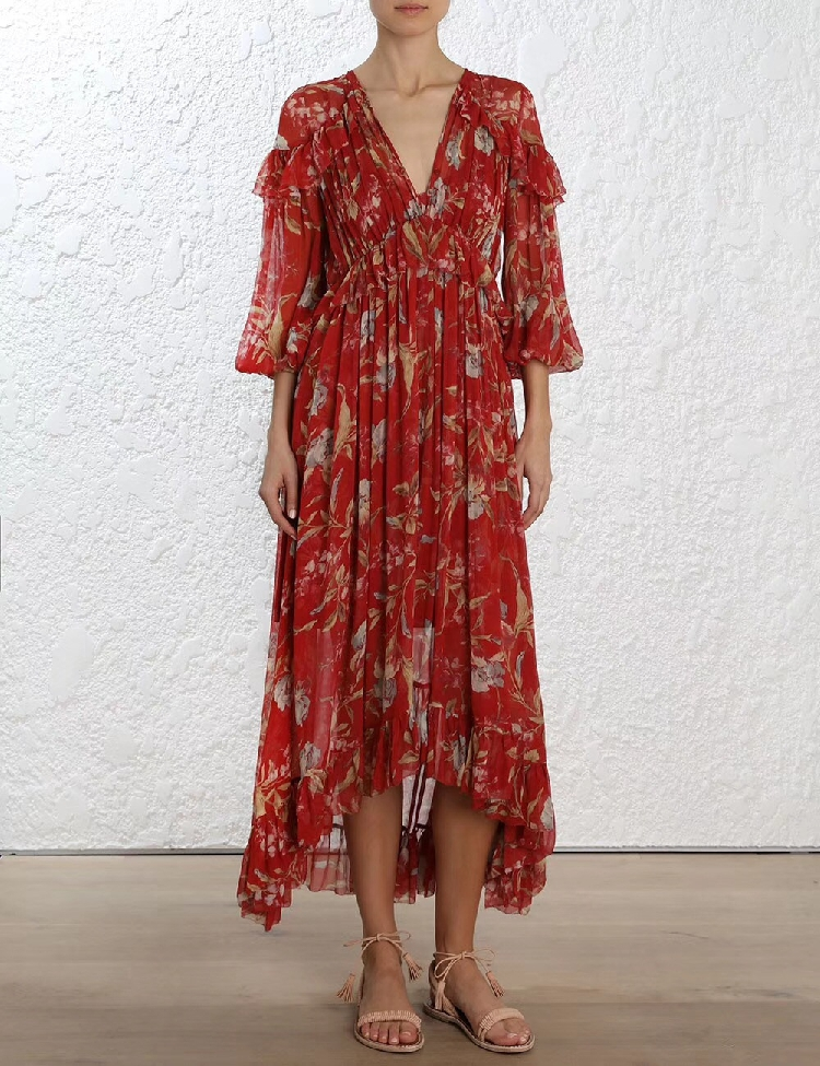 100% Silk Woman Dress 18 Spring Summer Red Floral Print Ruffle Long Sleeve Deep V Neck Sexy Slim Midi Dresses For Party 1