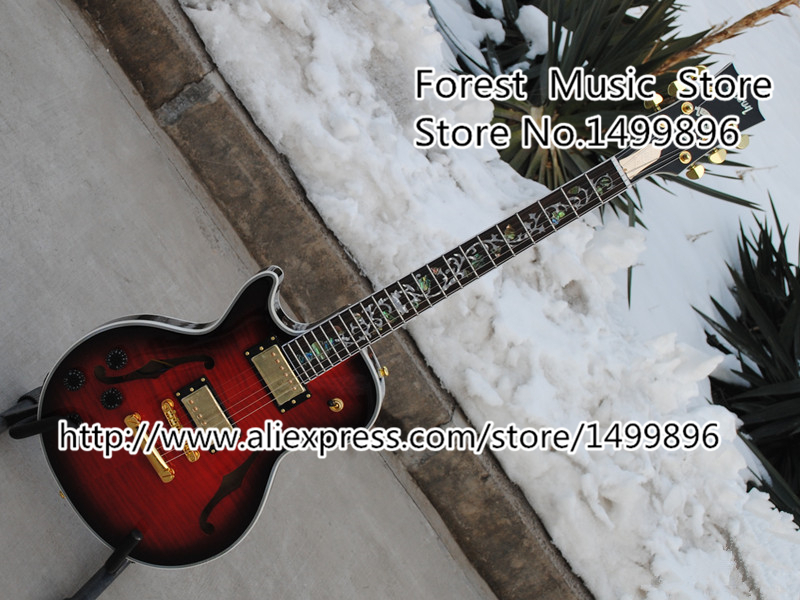 New Arrival Vintage Red Tiger Flame Hollow Body Left Handed LP Sup. Electric Guitars With Floral Inlay hot selling ventage sunburst finish left handed slash lp standard electric guitars as pictures