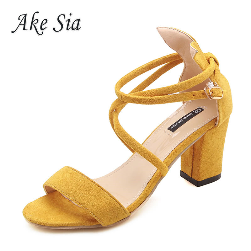 Cross Strap Buckle Female Sandals 2019  New Female High Heel Sandals Thick With Shallow Mouth Fish Mouth Shoes  F001(China)
