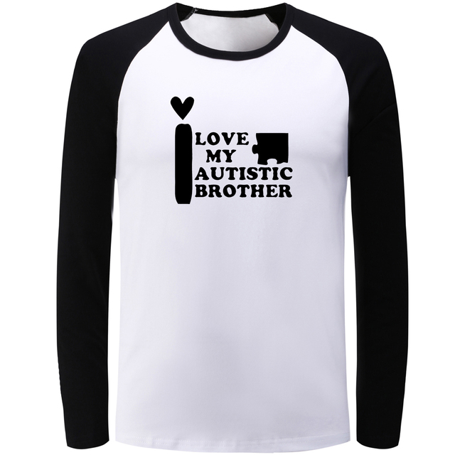 6ca68fe3c28 iDzn Unisex Fashion Patchwork Long Sleeve T-shirts I Love My Autistic  Brother Styling T Shirt Men Boy Cotton Fitness Tee Tops
