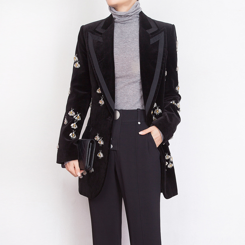 Luxury Heavy Work Beaded Diamond Small Bee Long Suit Jacket Female Spring New Self-cultivation Temperament Velvet Small Suit