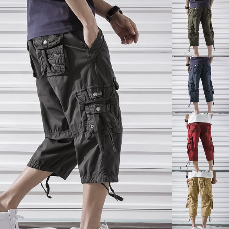 HEFLASHOR Cargo-Pants Summer Multi-Pockets Casual Men 3/4-Length