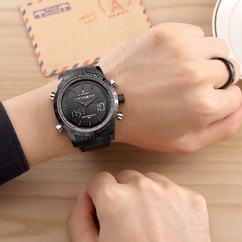 New Luxury Brand Dual Time Clock Full Stainless Steel Men's Waterproof Watch 5