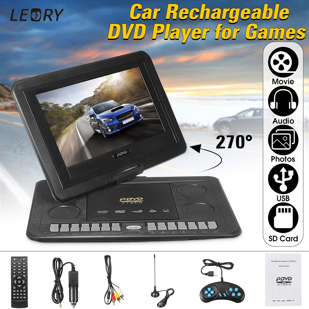 CLAITE 13.3 inch Portable In Car DVD Player Game Remote Control High Definition DVD Players 270 Degree Rotate Screen for AU Plug chimole a910 high quality high power 300w 9 inch high definition display dvd player portable square speakers